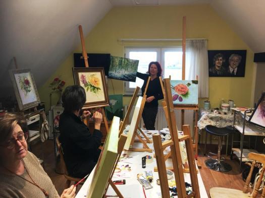 Schilderworkshop in Atelier Kunst van de Riet in Grashoek