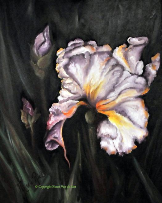 Bloem volgens de olieverf schildertechniek van Gary Jenkins
