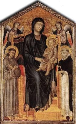 Cimabue - Getroonde Maria met Kind en heiligen