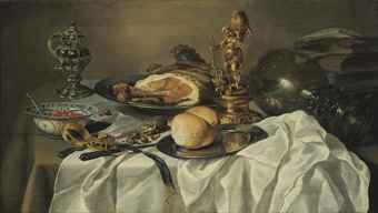 Pieter Claesz - Stilleven met ham