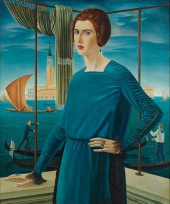Ubaldo Oppi - Ritratto della moglie sullo sfondo di Venezia