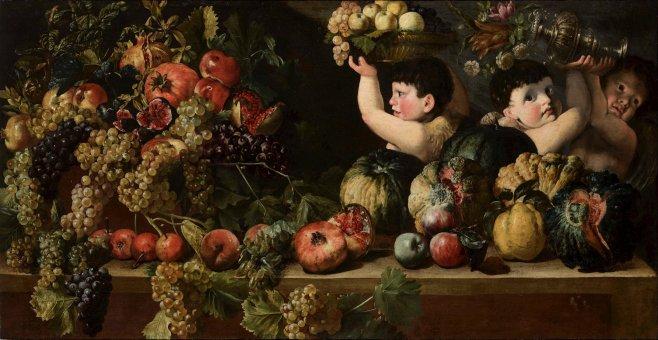 Bartolomeo Cavarozzi - Stilleven met drie jongetjes