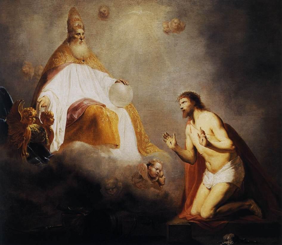 Pieter de Grebber - God nodigt Jezus uit op de Troon