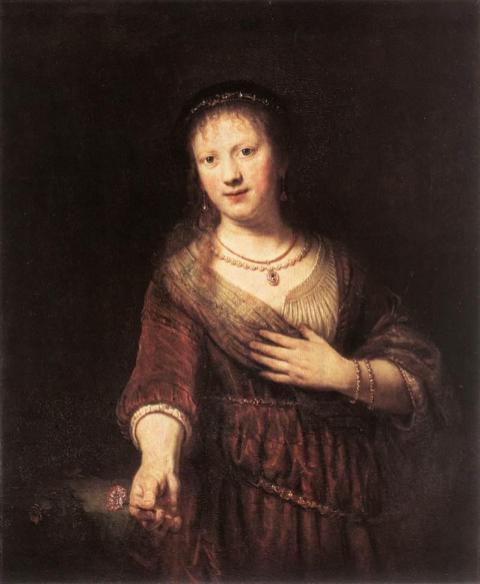Rembrandt van Rijn - Saskia met een Bloem