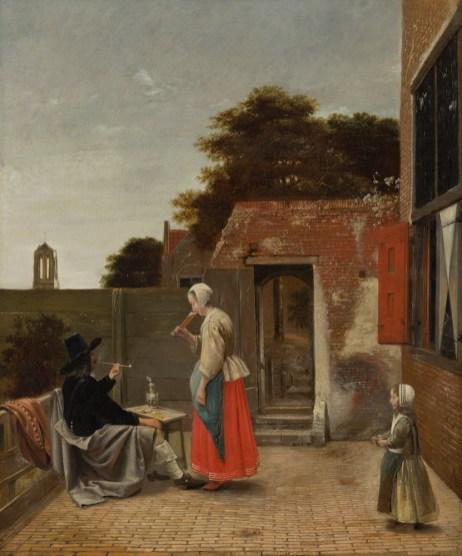 Pieter de Hooch - Een Binnenplaats met een Rokende Man en een Drinkende Vrouw. Mauritshuis, Den Haag