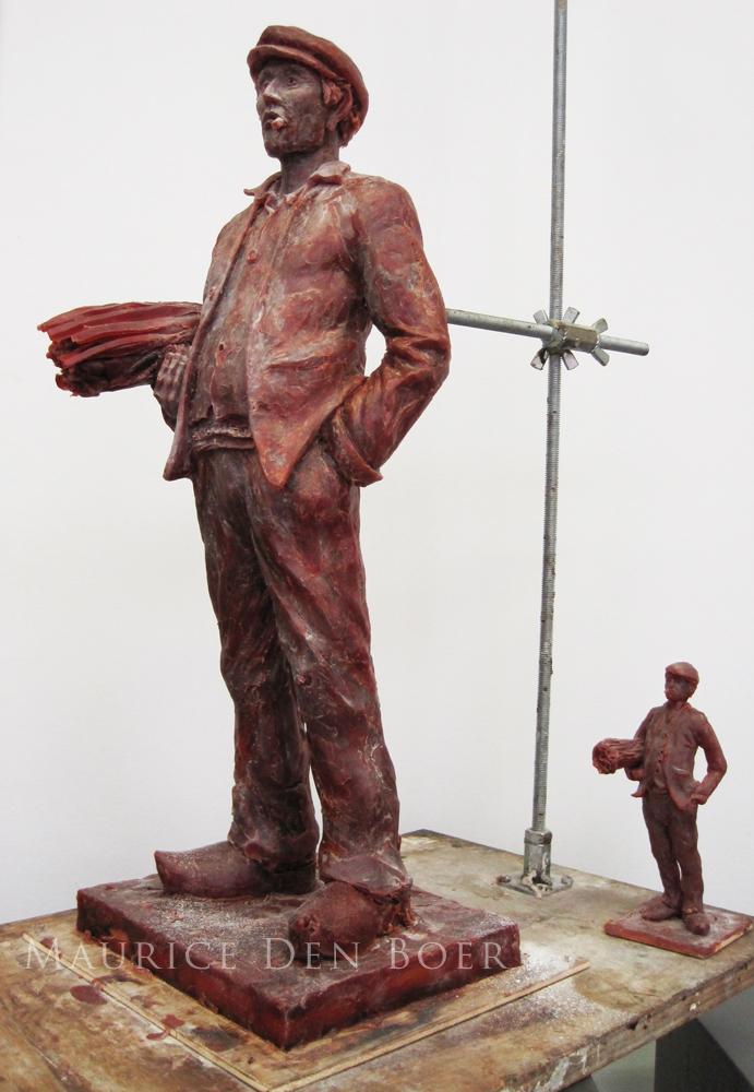 Wassen beeld in brons gieten armatuur maken
