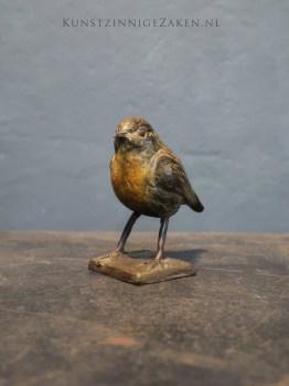 vogelbeeldjes roodborstje brons