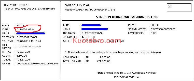 cek nomor rekening listrik
