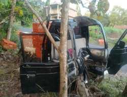 Rem Blong, Sopir Terjepit Kabin Setelah Nabrak Pohon