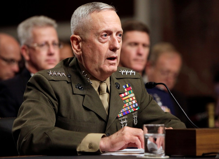 FILE - General James Mattis testifies before the Senate Armed Services Committee hearing on Capitol Hill in Washington,  July 27, 2010.