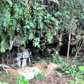 宜野湾市嘉数の比屋良川に残る「火炎放射痕」