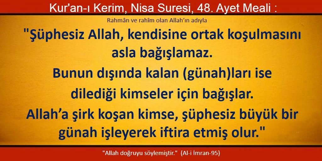 Şüphesiz Allah, kendisine ortak koşulmasını asla bağışlamaz, bunun dışında kalan (günah)ları ise dilediği kimseler için bağışlar