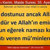 Sizin dostunuz ancak Allah'tır, Resulüdür ve Allah'ın emirlerine boyun eğerek namaz kılan, zekatı veren müminlerdir