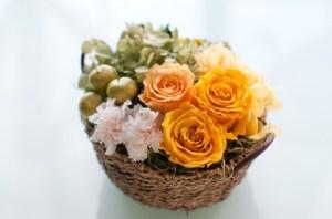 黄色い薔薇のかごに入った花束