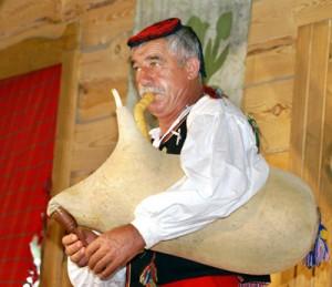 """Muzyk z Chorwacji gra na """"djura gaida"""" Fot. Sylwester Marchewka"""