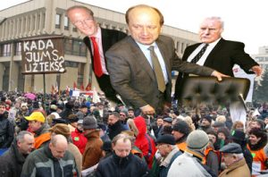 Opozycja uważa, że premier Andrius Kubilius w obronie interesów dużego kapitału łamie Konstytucję i zapowiada wszczęcie procedury formalnego oskarżenia premiera o złamanie przysięgi konstytucyjnej Fotomontaż: Marian Paluszkiewicz