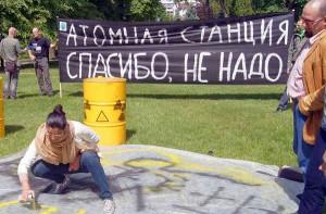 Przeciwnicy elektrowni atomowych uważają, że Litwa powinna zaniechać planów atomowych<br/>Fot. Marian Paluszkiewicz