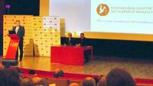 Uczestników Kongresu przywitał ambasador Litwy w Mińsku Evaldas Ignatavičius<br/>Fot. Stanisław Tarasiewicz