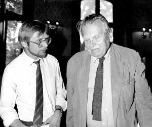 Z Czesławem Miłoszem w Związku Pisarzy Litwy, 1993 Fot. Jerzy Karpowicz