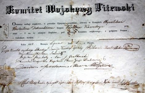 Dyplom o nadaniu stopnia kapitana kawalerii Konstantemu Dobrowolskiemu Fot. archiwum