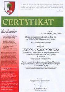 Certyfikat Pamięci poświęcony Izydorowi Kononowiczowi