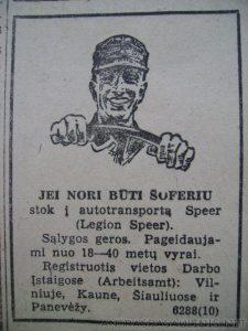 """Ogłoszenie """"Legion Speer"""" w litewskiej prasie Fot. archiwum"""