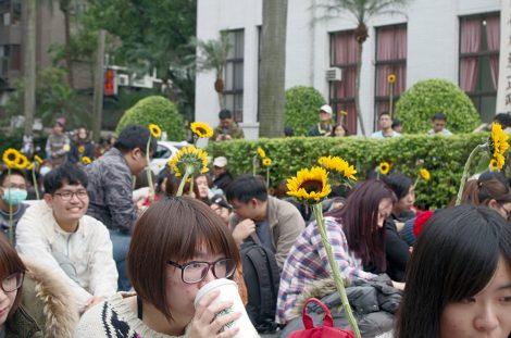"""Podpis pod zdjęcie: Dziesięć lat po tajwańskim żywym łańcuchu doszło do Rewolucji Słoneczników, którego przywódcami byli studenci Fot. Hanna Shen """"Gazeta Polska"""""""