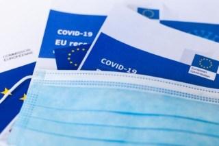 Jednorazowe maski ochronne leżą na unijnych broszurach dotyczących zwalczania COVID-19