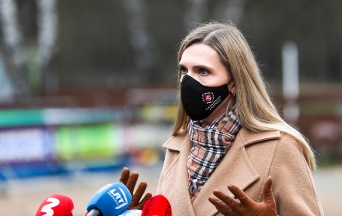 Minister spraw wewnętrznych Litwy Agnė Bilotaitė podczas wywiadu z mediami