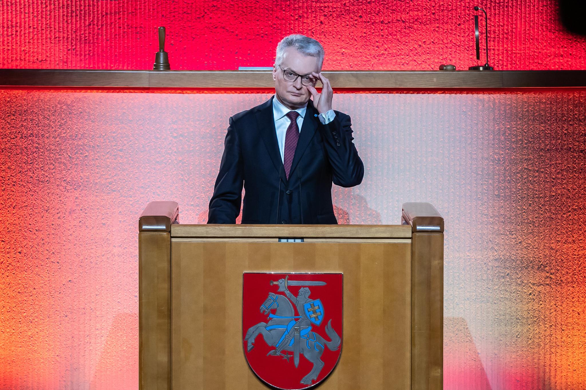 Przemowa prezydenta Litwy Gitanasa Nausėdy podczas obchodów Dnia Obrońców Wolności w Sejmie
