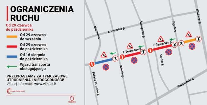 Od dziś ograniczenia ruchu na ul. Szewczenki w Wilnie. Remonty potrwają do jesieni