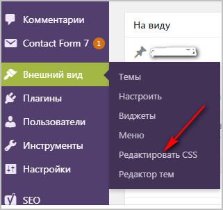 Внешний вид редактор CSS