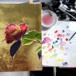 【椿の花の描き方】簡単な書き方や金箔の貼り方、膠の使い方も解説