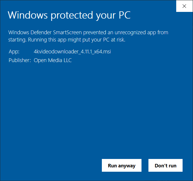 Screenshot of Windows Defender SmartScreen not liking an application