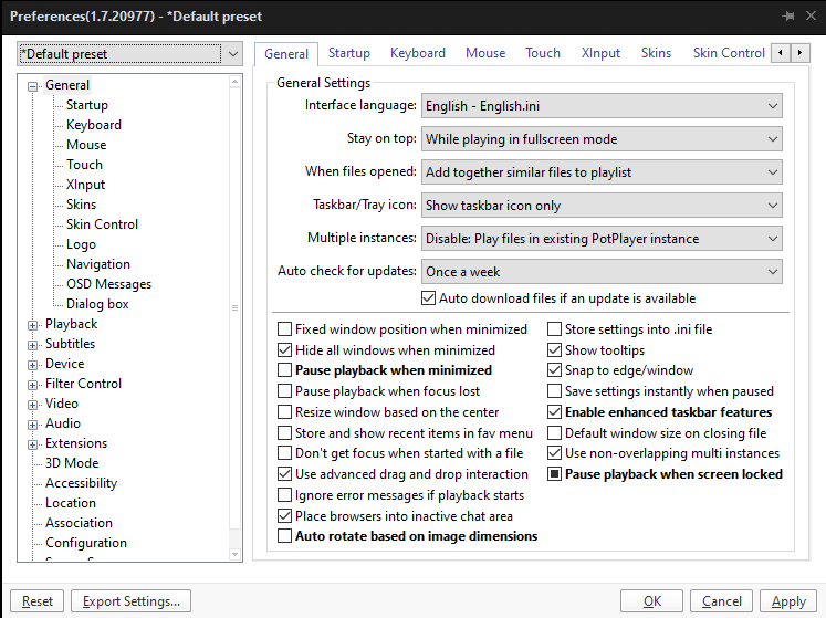 A screenshot of the preferences window in Potplayer.