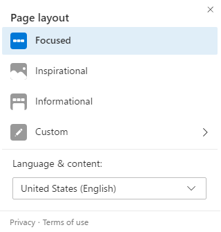 Edge browser new tab page layout