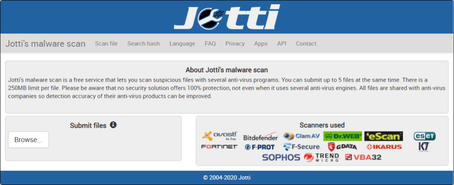 The main page of Jotti's Malware Scan