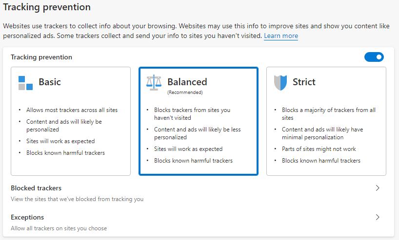 The new tracking protection feature in the new Edge