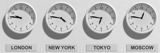 A wall of clocks showing multiple time zones