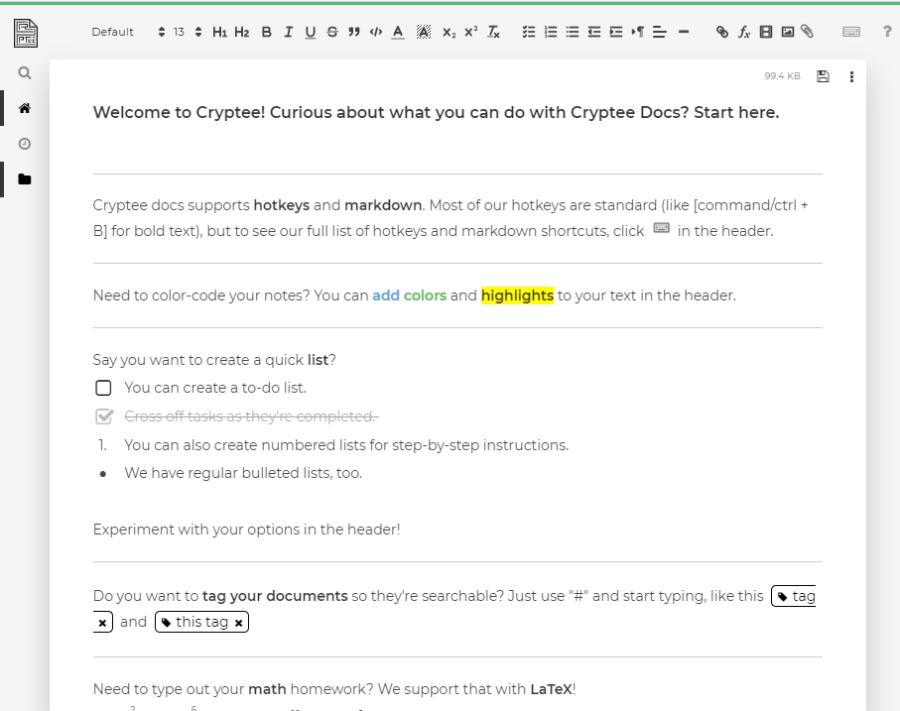 Cryptee document writer