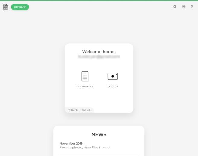A screenshot of the main screen when logged in