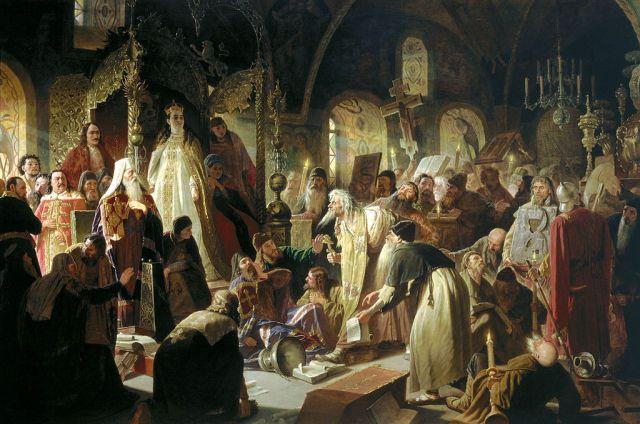 Василий Перов. Никита Пустосвят. Спор о вере («прения о вере»). 1880-1881.