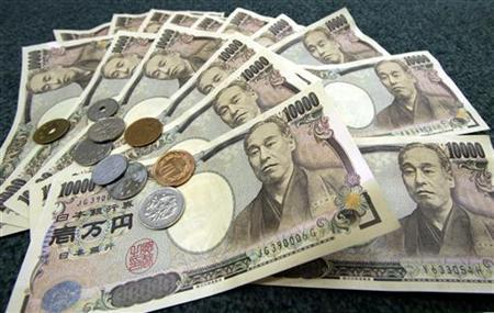 Japanese 10,000 yen bank notes and coins are displayed March 3, 2006. The yen fell on Friday after J..