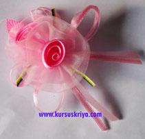 Korsase bunga pink organdi