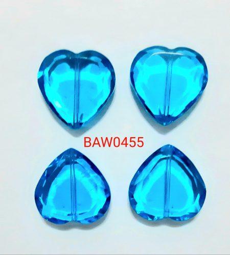 Manik kaca bentuk hati 2 cm navy blue