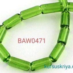 Manik kaca tabung 10 mm light green
