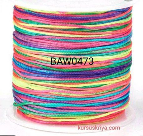 Tali cord nilon 0,8 mm warna pelangi