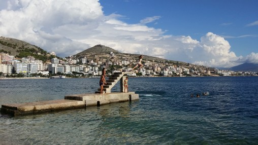 Jumping into the Adriatic Sea in Saranda, Albania.