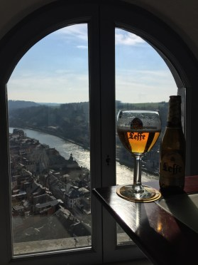 Sipping a Leffe Blond in Dinant, Belgium.