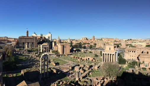 Overlooking the Roman Forum on the Palatine Hill in Rome, Italia.
